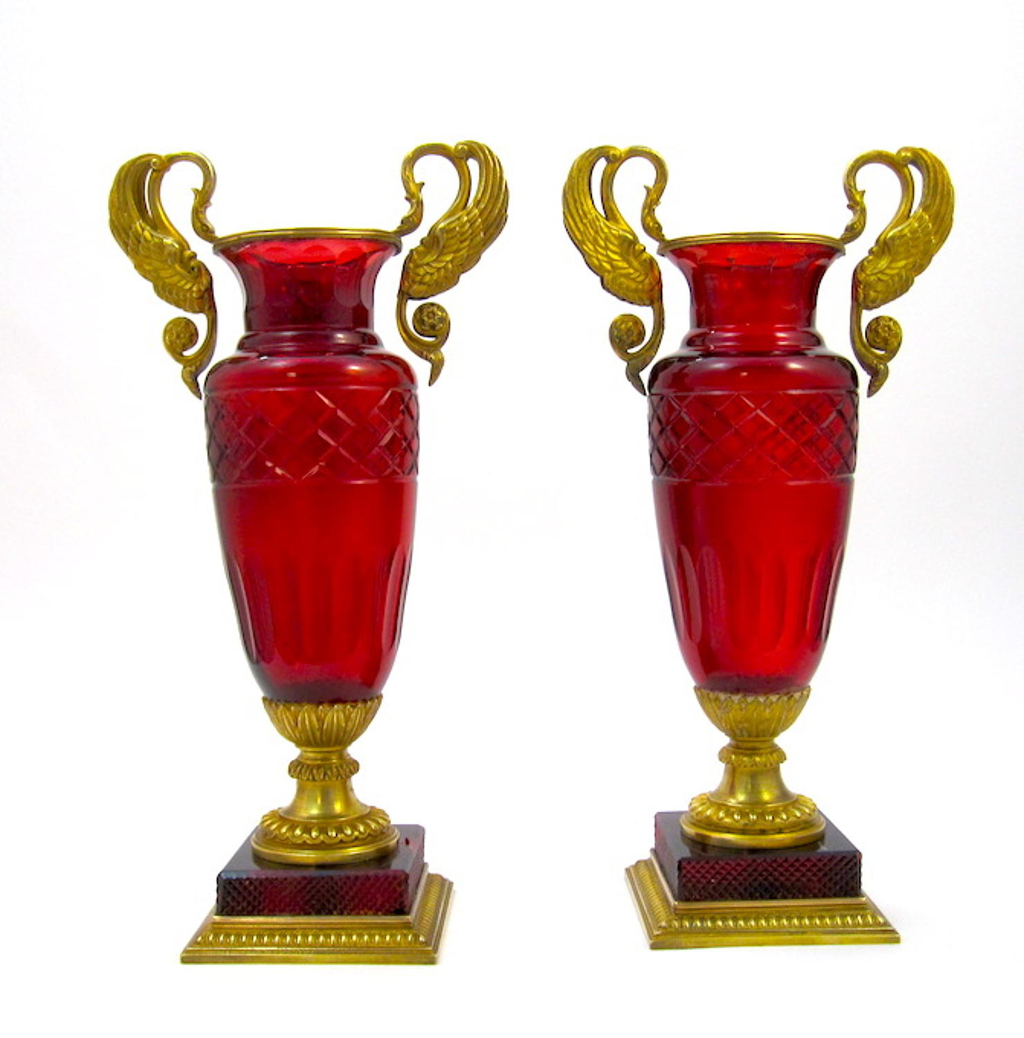 A Pair of Elegant Antique Empire Baccarat Red Glass Vases