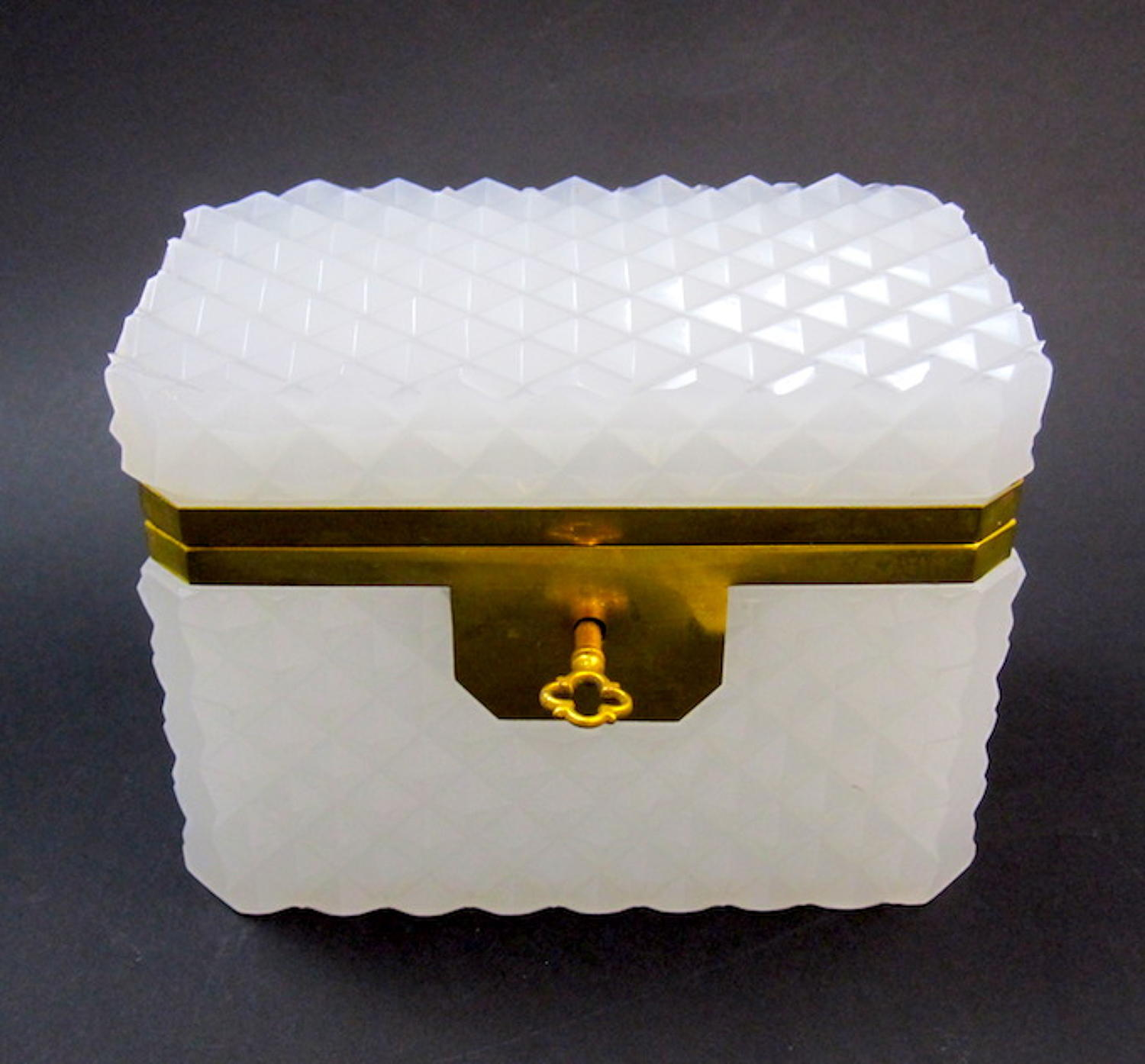 Antique White Opaline Diamond Cut Rectangular Casket Box