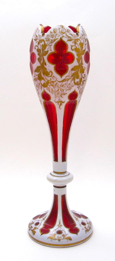 A Very Tall Antique Bohemian Red and White Overlay Glass Vase