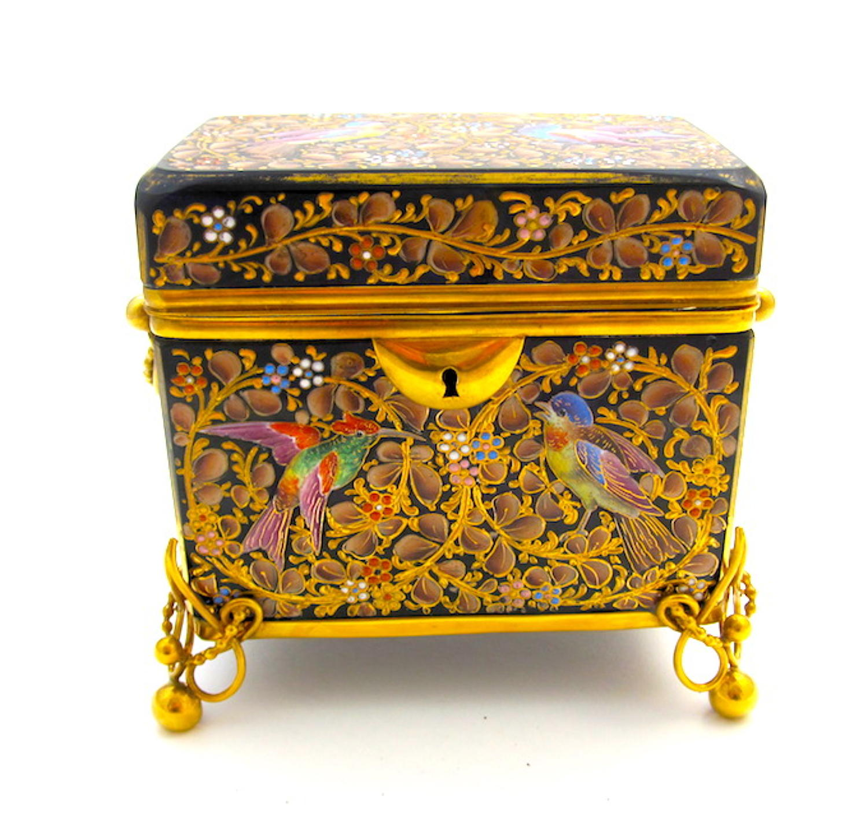 Antique Moser Cobalt Blue Enamelled Casket Box