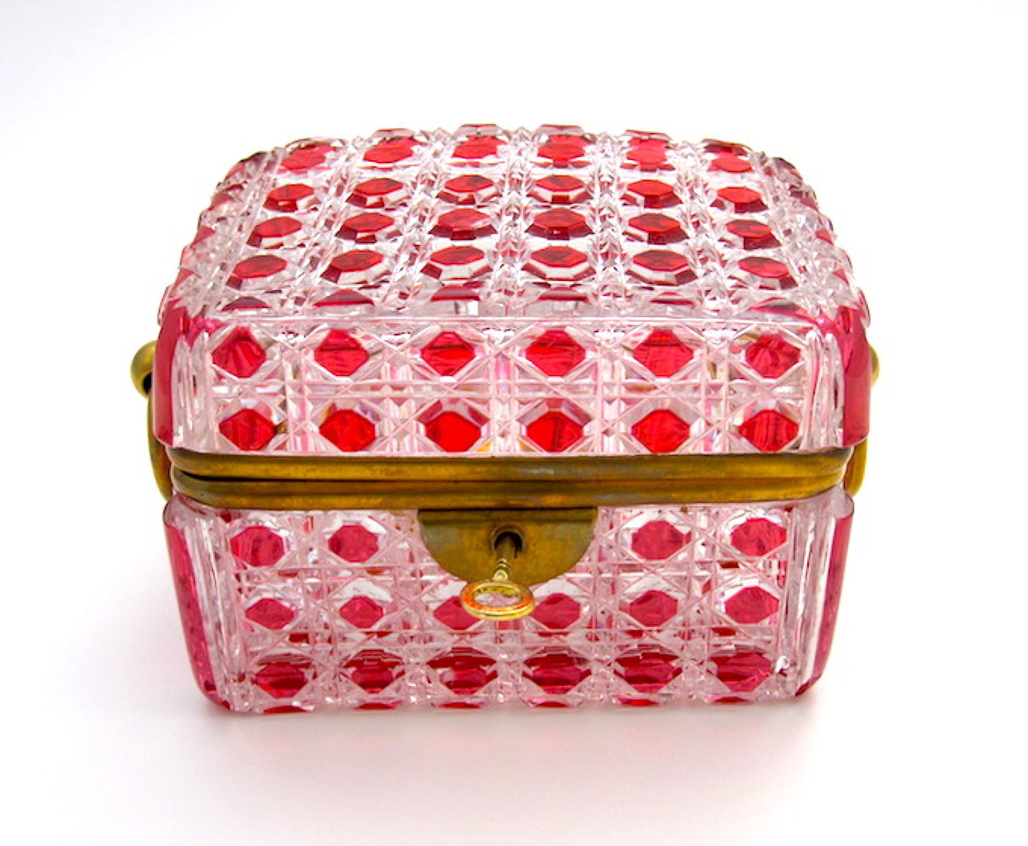 Antique Cranberry and Clear Glass Baccarat Casket Box
