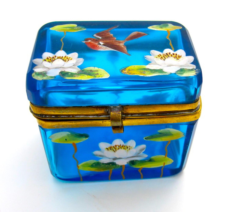 Unusual Antique Miniature Turquoise Enamelled Casket Box
