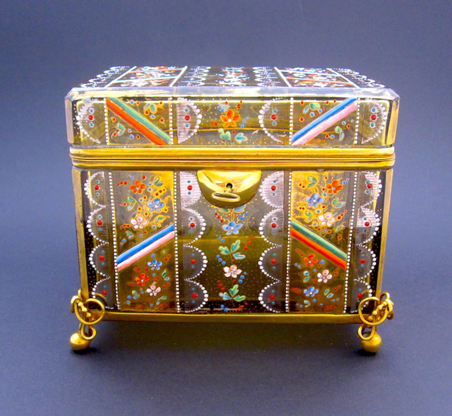 Large Antique Moser Enamelled Casket Box