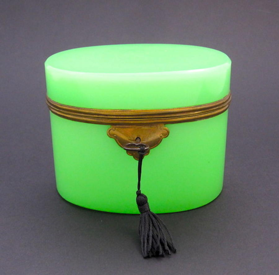 Antique French Green Opaline Glass Casket and Key