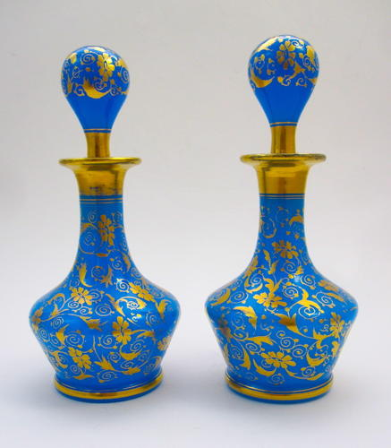 Pair of Antique French Blue Opaline Glass Perfume Bottles