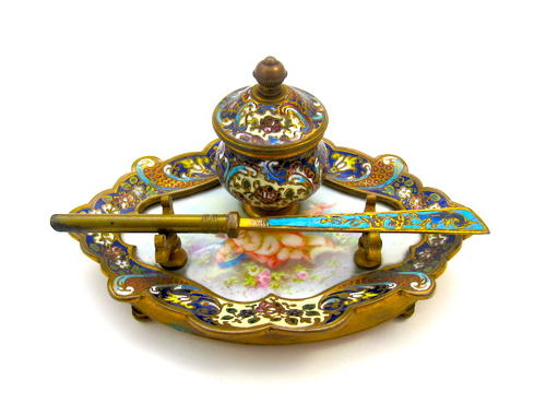 Antique French Cloisonne Ink Stand