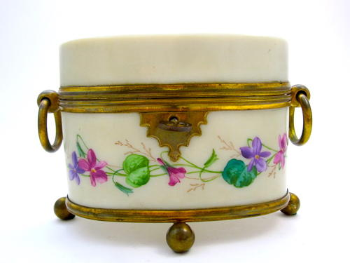 Antique French Opaline Casket Box with Hand Painted Flowers