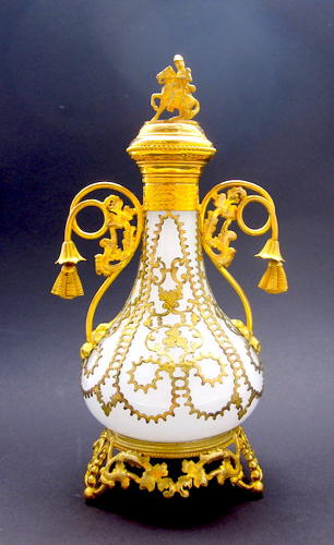 Tall Antique French Palais Royal White Opaline Glass Perfume Bottle