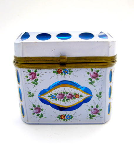Bohemian Turquoise and White Overlay Casket Box with Hand Painted Flow