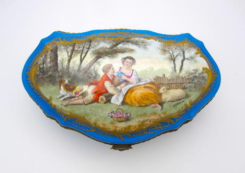 Antique French Sevres Hand Painted Porcelain Casket Box