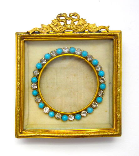 Small Antique Empire Frame with Turquoise 'Jewels