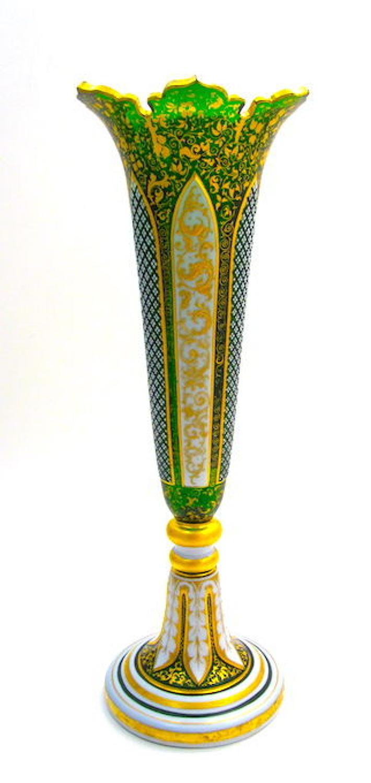 Antique Bohemian Green Overlay Glass Vase