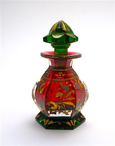Rare Antique Bohemian Miniature Red and Green Perfume Bottle