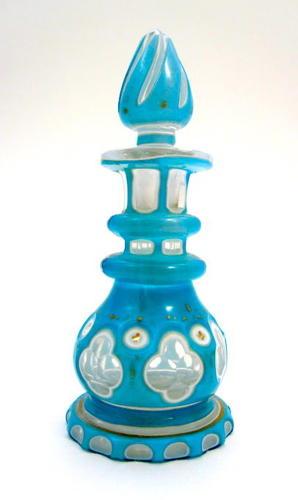 Miniature Antique Bohemian Turquoise Overlay Perfume Bottle