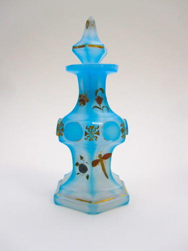 Miniature Antique Bohemian Blue 'Barfatan' Enamelled Perfume Bottle