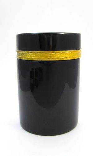 Large Antique Murano Black Opaline Glass Casket Box