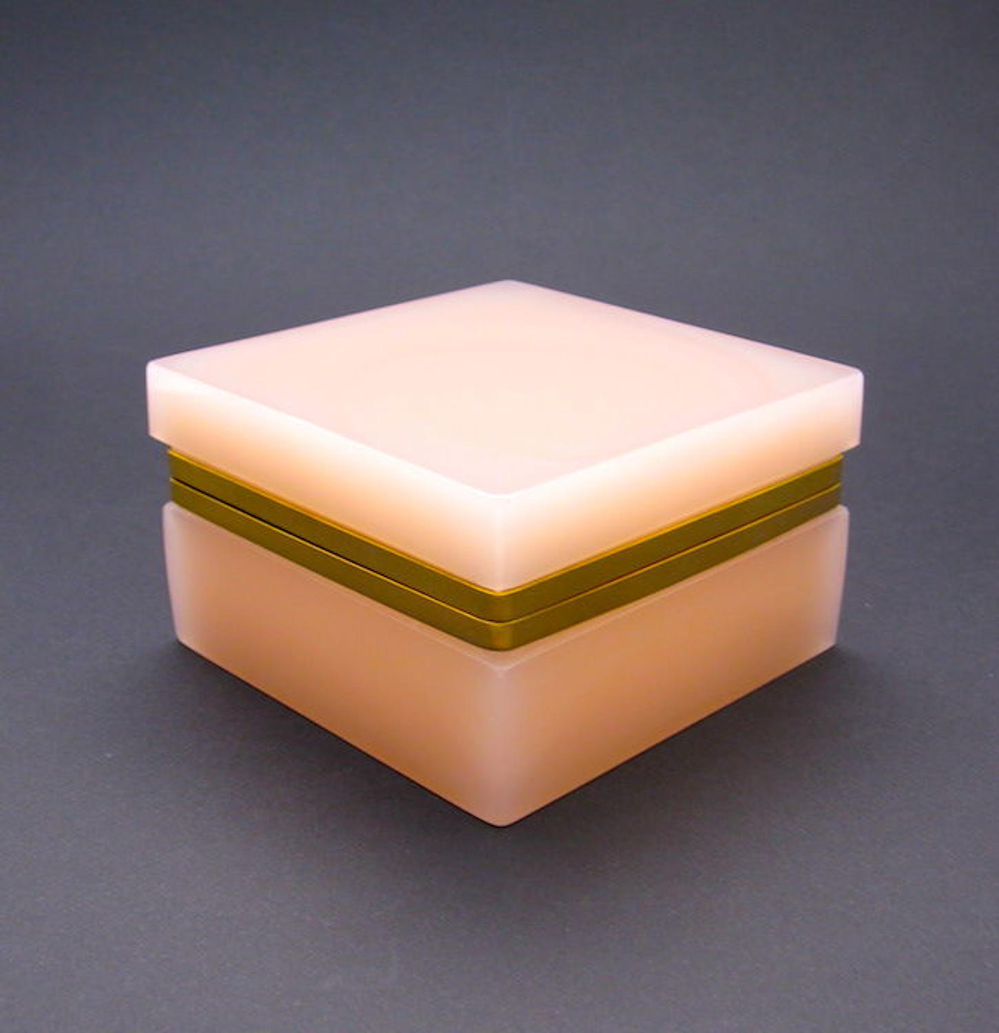 Antique Pink Opaline Glass Casket Box