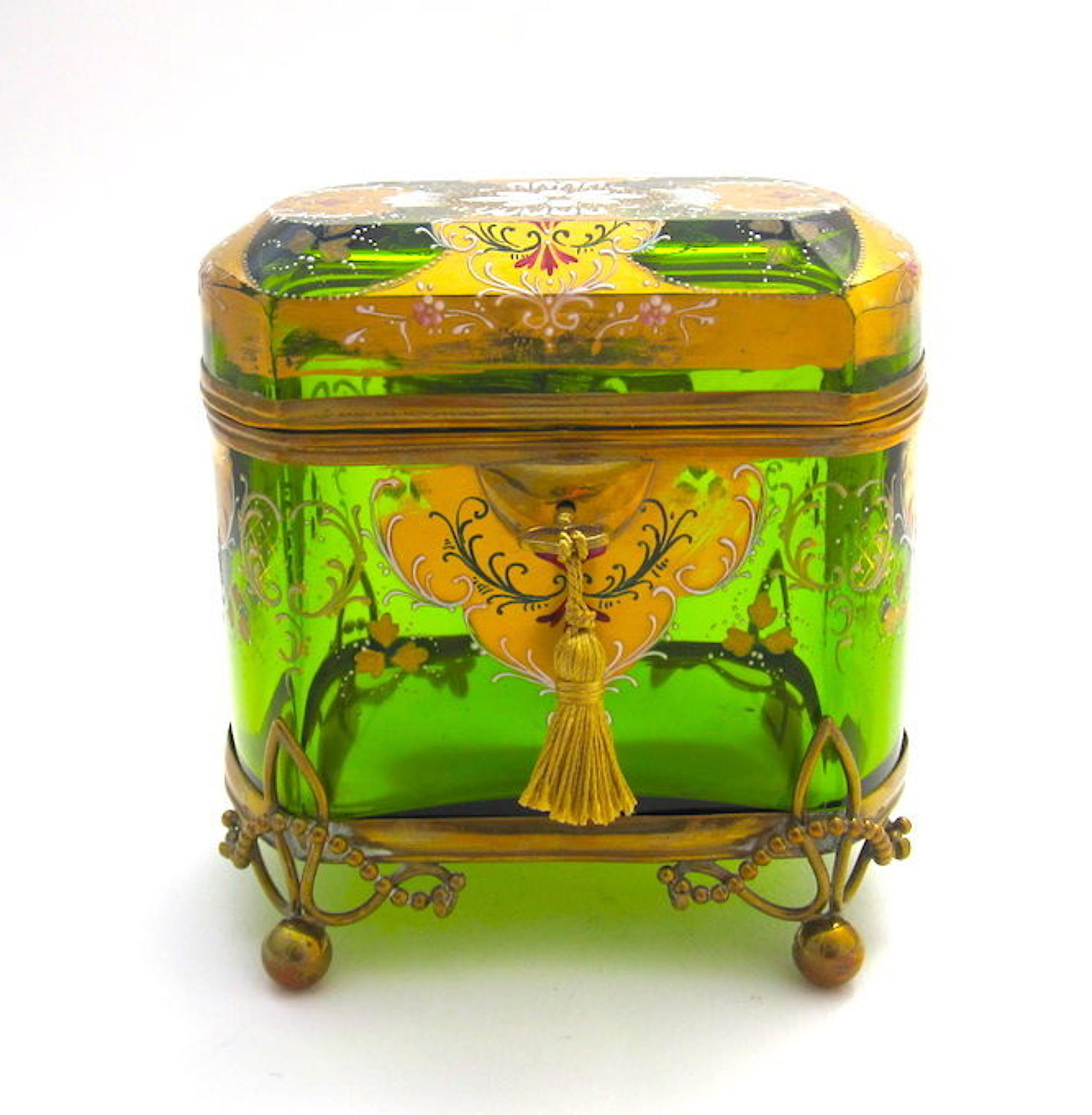 Stunning Large Antique MOSER Glass Casket Box