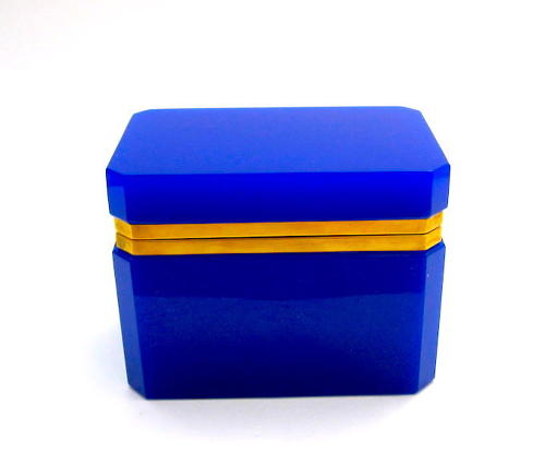 Vintage Italian Murano 'Lapis' Blue Glass Casket Box