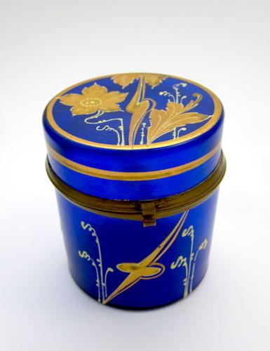 Art Nouveau Cobalt Blue Glass Casket Box