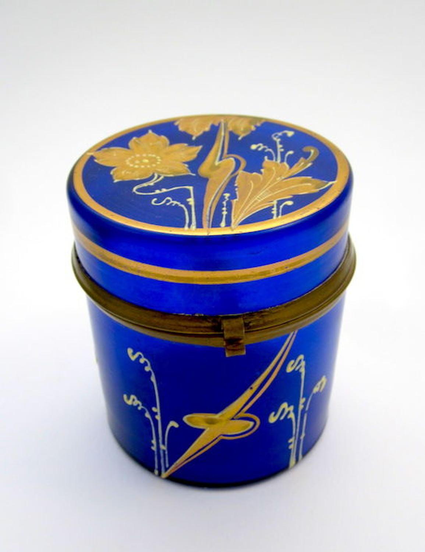 Art Nouveau Cobalt Blue Glass Casket Box