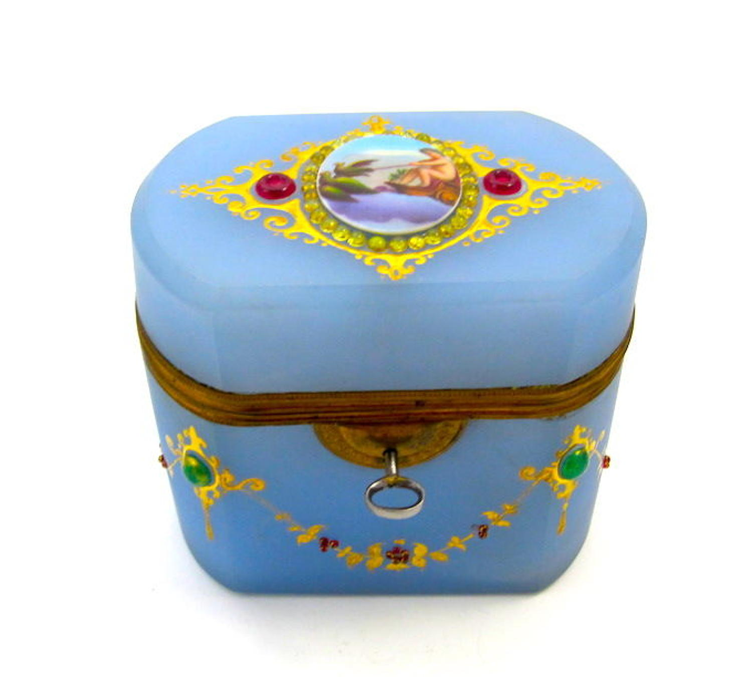 Antique French Lavender Opaline Casket Box