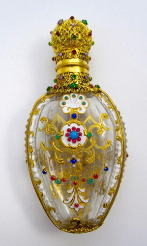 Stunning Antique French Enamelled 'Jewelled' Perfume Bottle.