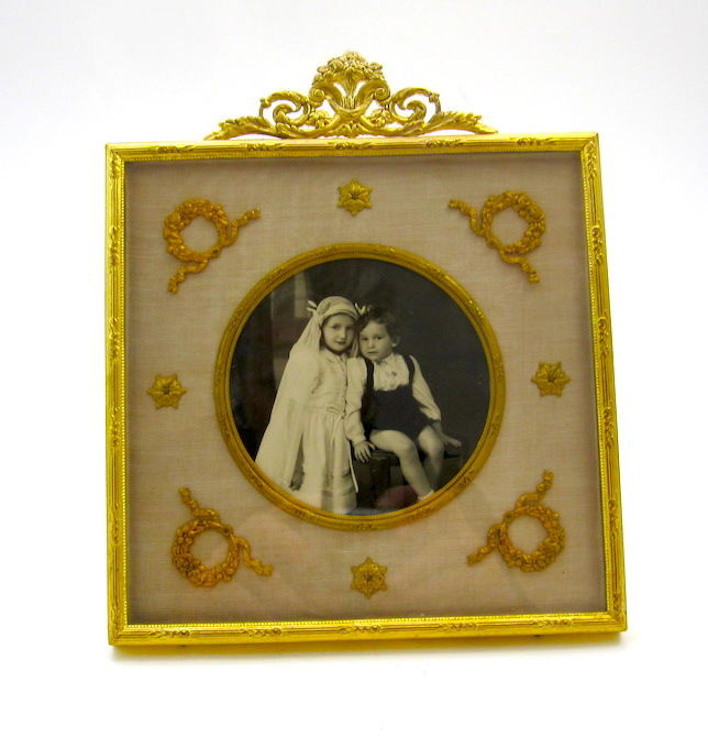 Antique French Empire Dore Bronze Frame with Classical Motifs