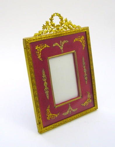 Antique French Empire Red and Dore Bronze Frame with Classical