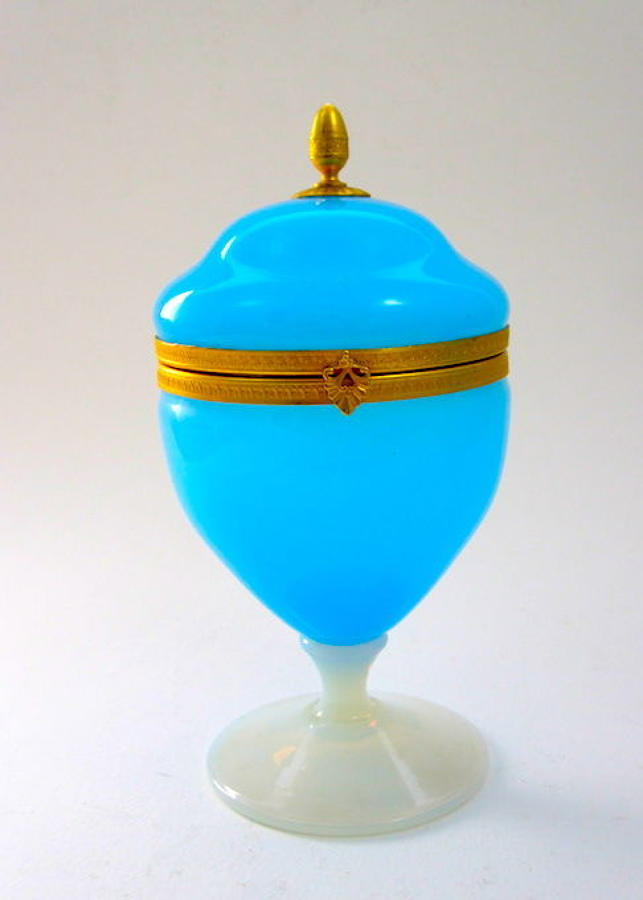 Antique French Blue Opaline Glass Hinged Box