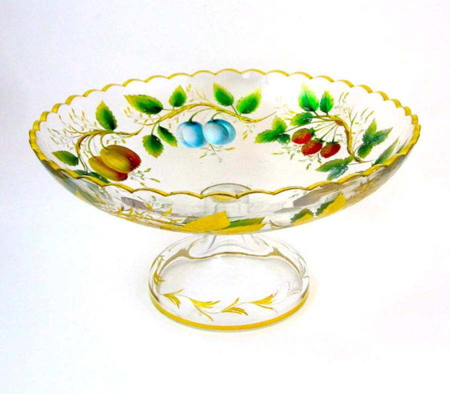 Antique Moser Enamelled Bowl