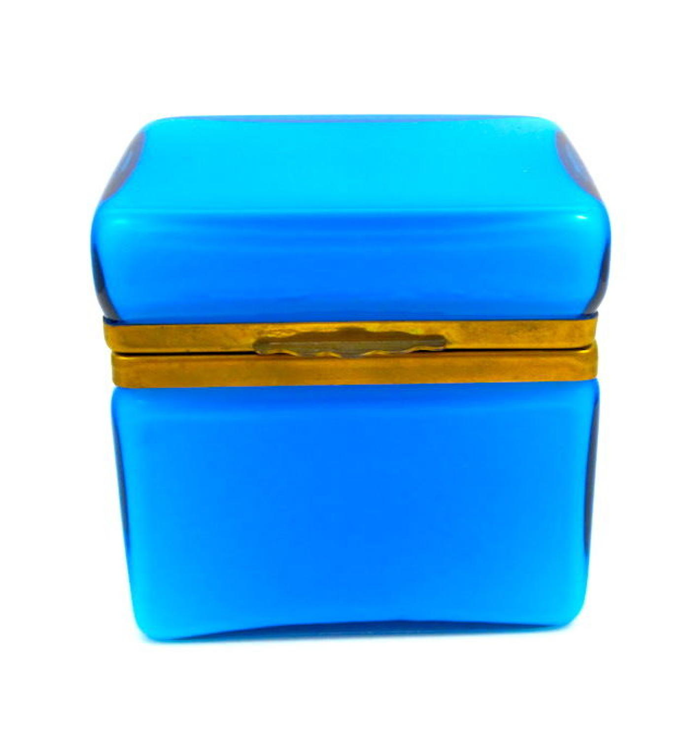 Antique Murano Blue Opaline Glass Casket Box