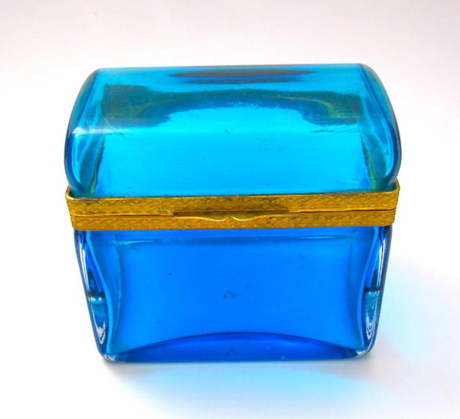 Antique Italian Murano Domed Clear BlueGlass Casket Box