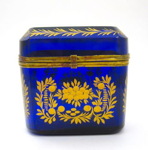 Antique Bohemian Cobalt Blue Casket Box