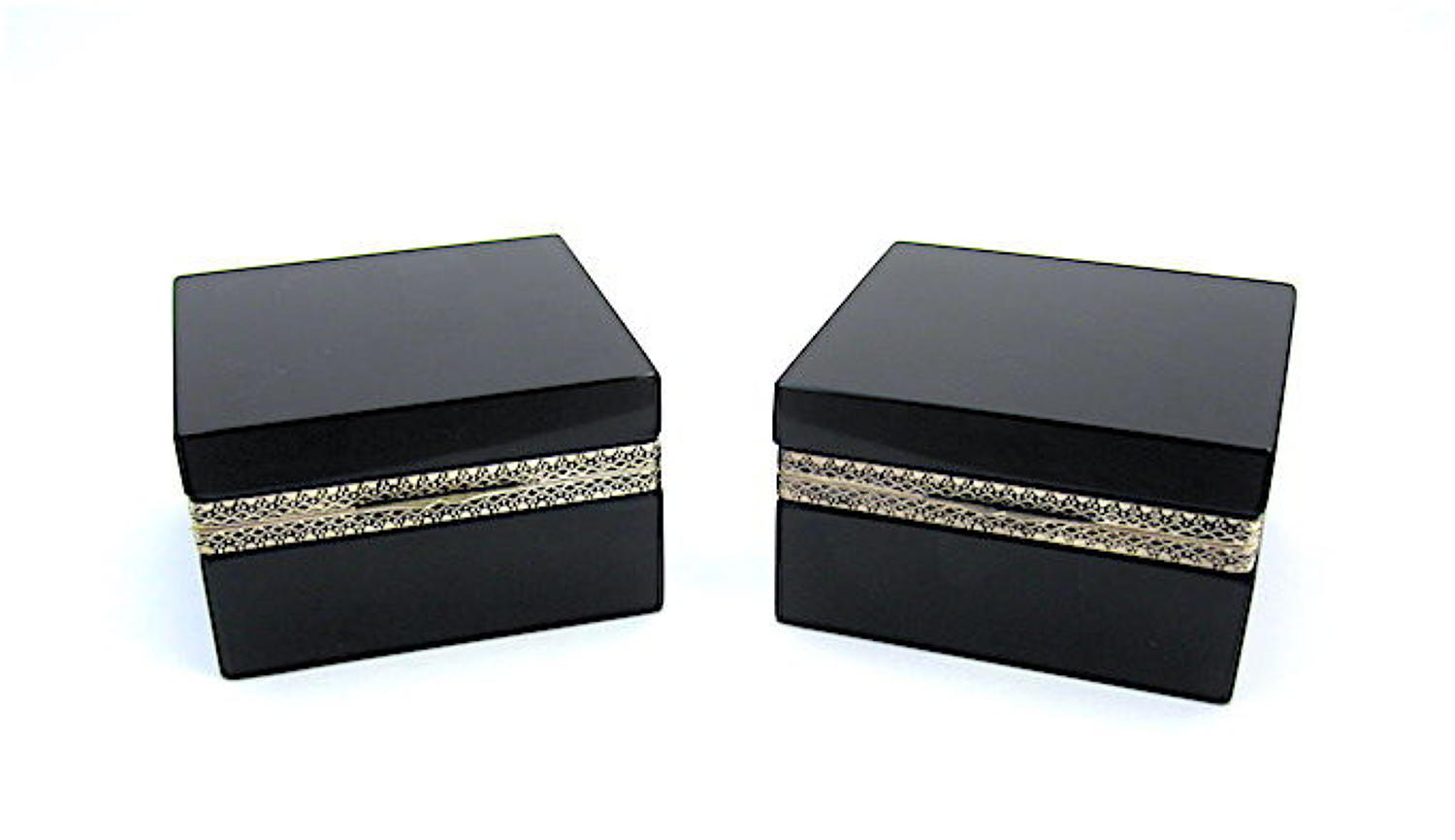 Pair of Antique Murano Black Opaline Glass Square Boxes