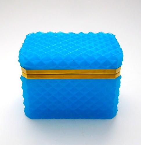 Antique Blue Opaline 'Diamond Cut ' Rectangular Casket Box with Smooth