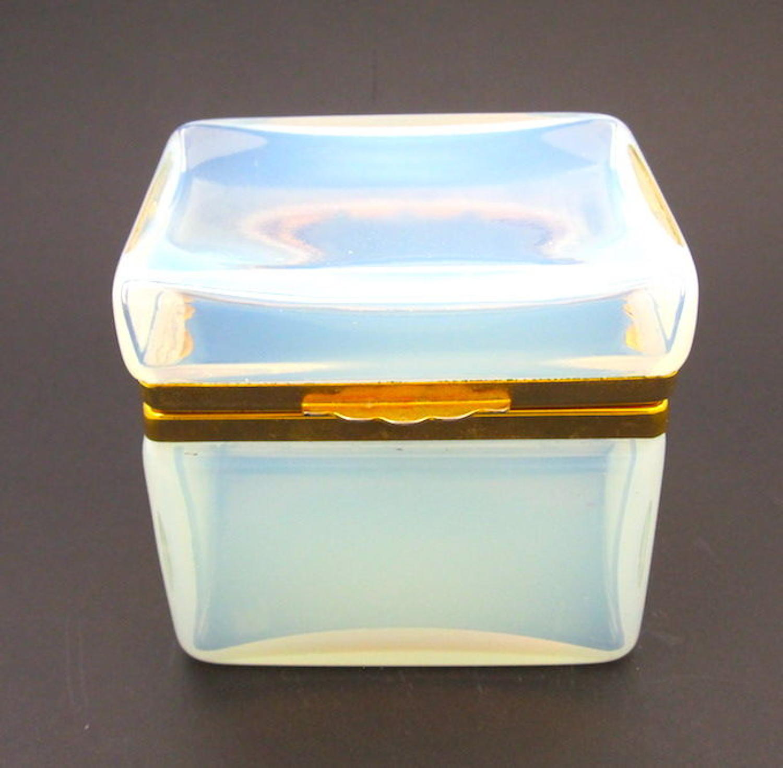 Antique French Opaline Glass Casket Box