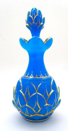 Large Antique Baccarat Opaline 'Pineapple' Perfume Bottle