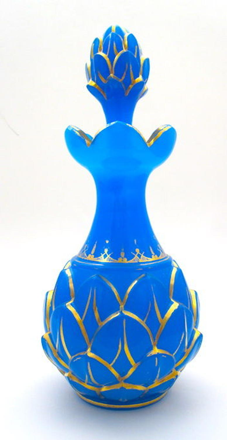 Large Antique Baccarat Opaline 'Pineapple' Perfume Bottle