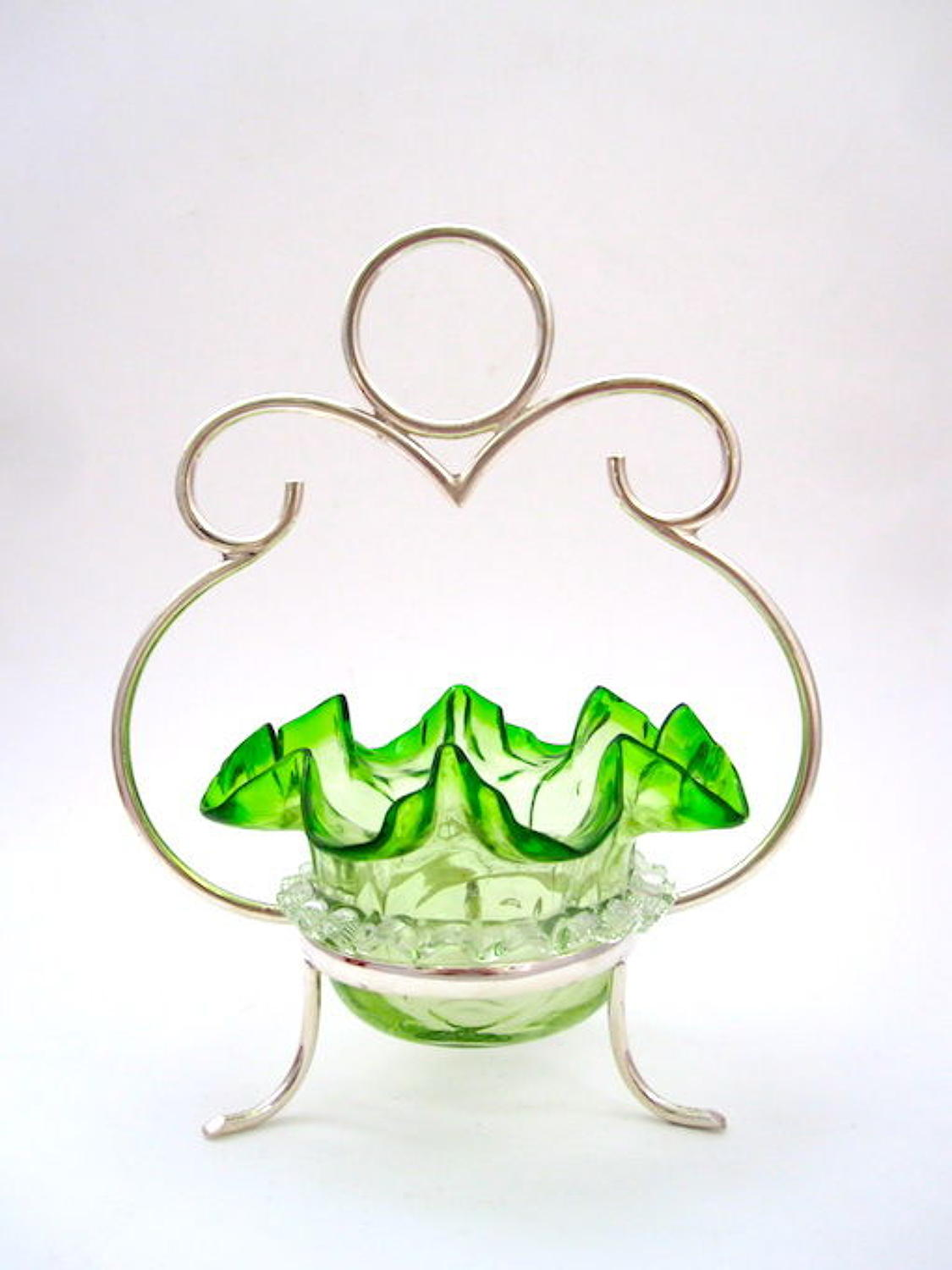 Antique Victorian Green Glass Bonbon Dish with EPNS Silver-P