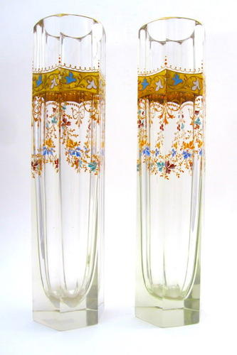 Stunning Tall Pair of Moser Enamelled Vases