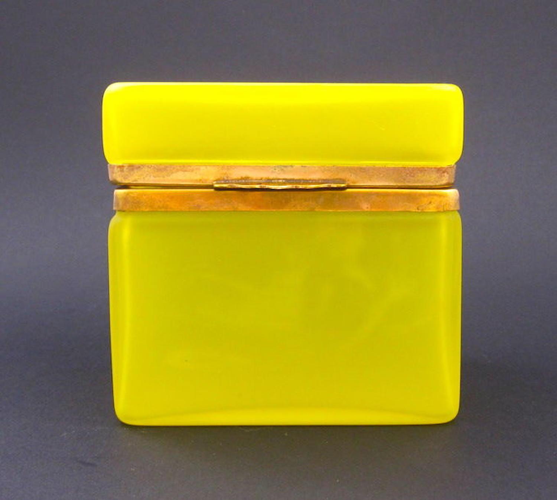 Antique Yellow Opaline Glass Casket Box
