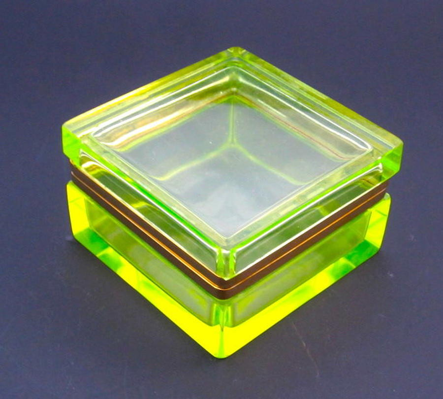 Antique Uranium Glass Square Casket with Bronze Mounts
