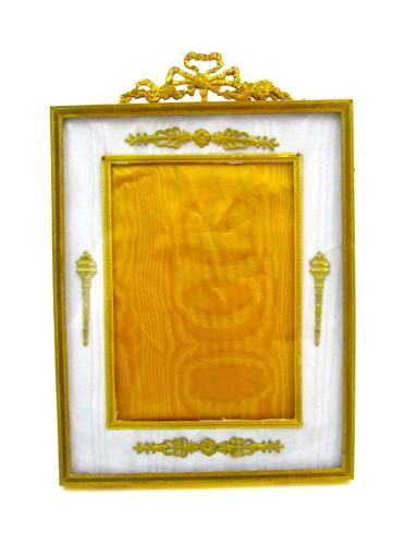 Antique Empire Dore Bronze and Silk Frame with Fine Classical Motifs