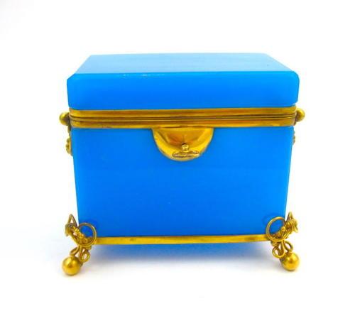 Antique Blue Opaline Glass Casket Box & Key