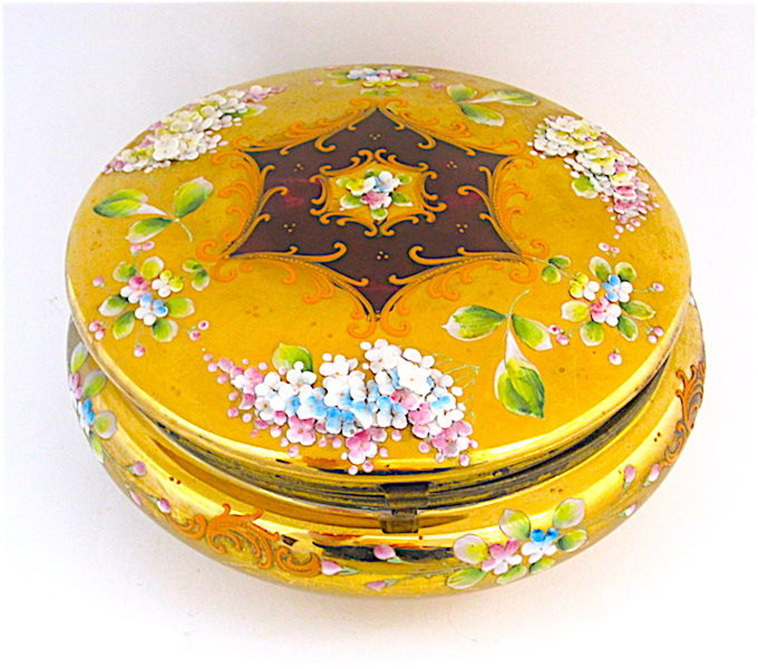 Large Antique Round MOSER Casket with Applied Glass Flowers