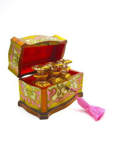RARE Antique Palais Royal 'Boulle' TAHAN Perfume Casket & Key