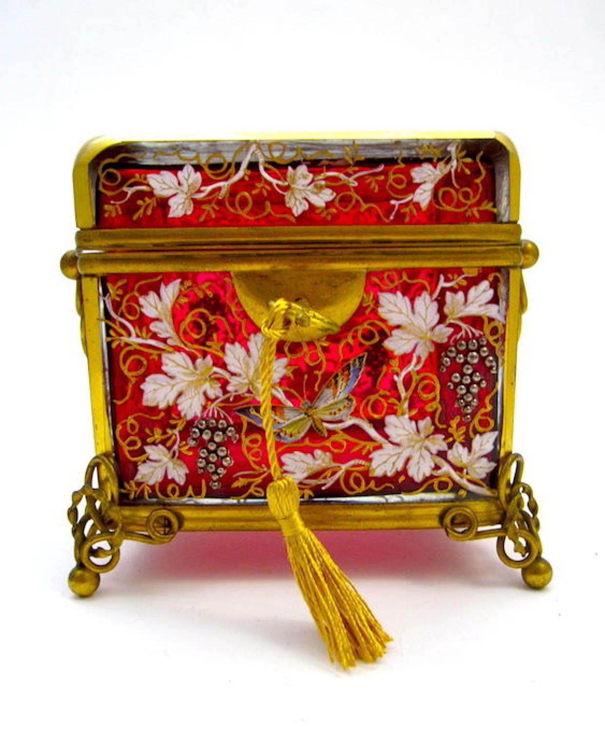 Antique MOSER Cranberry Pink Enamelled Casket Box