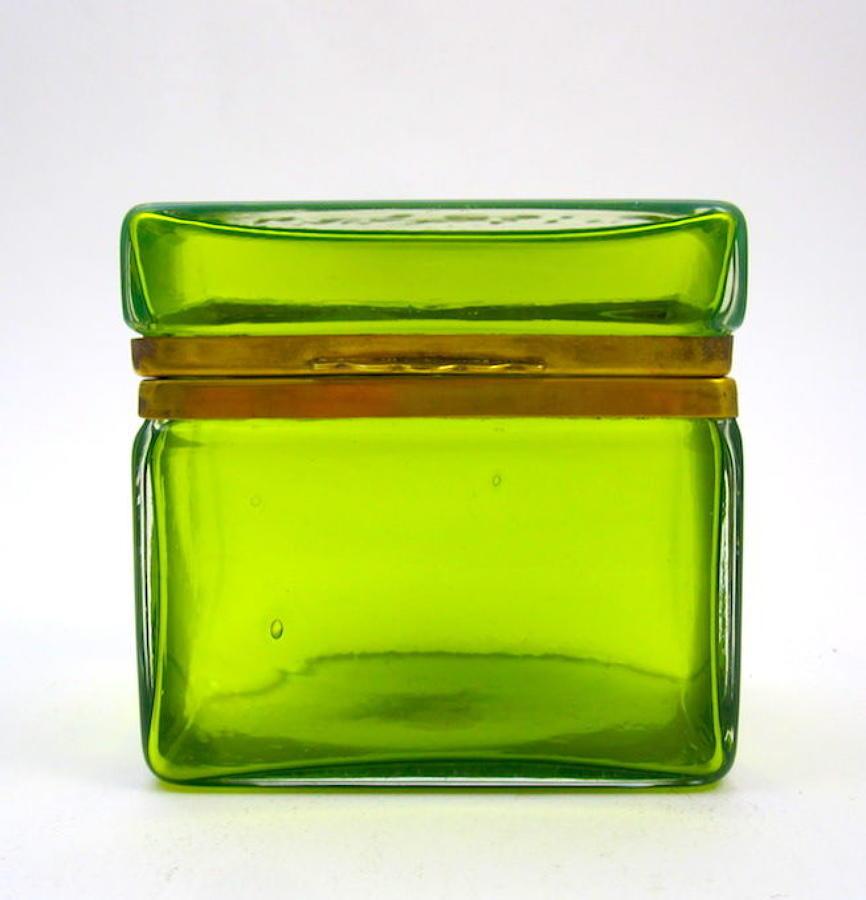 Antique Murano Clear Green Casket Box
