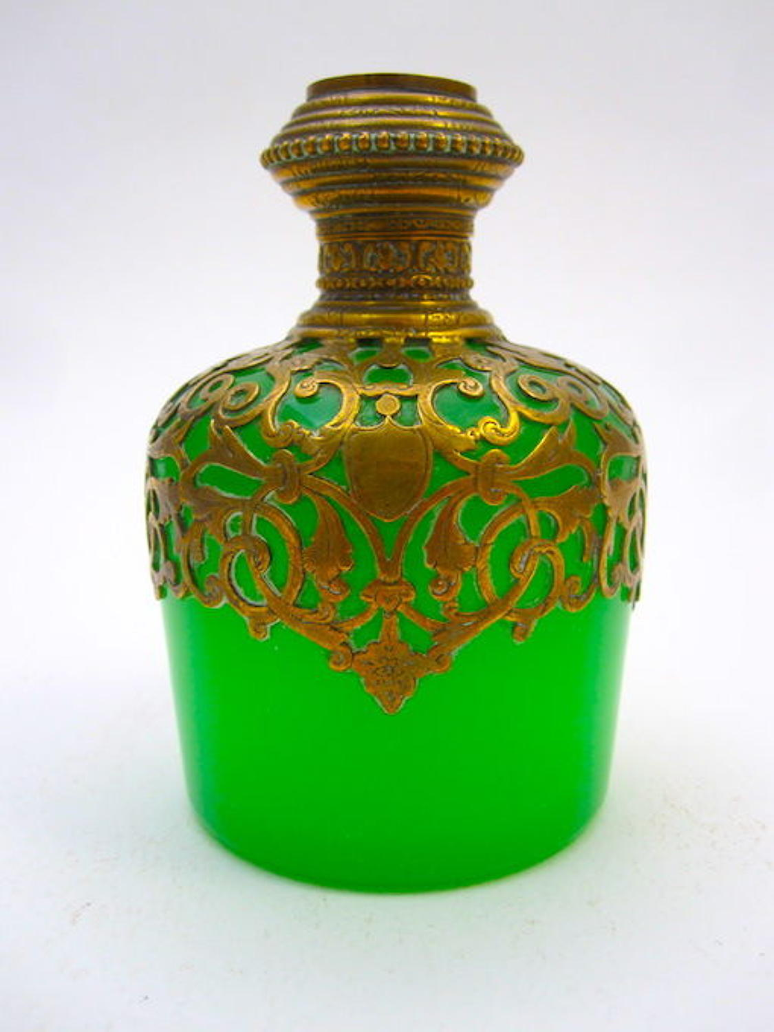 Antique Palais Royal Green Opaline Glass Perfume Bottle.